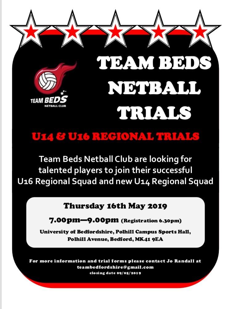Team Beds Netball Trials